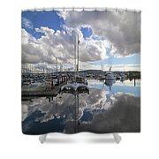 Boat Slips At Anacortes Cap Sante Marina In Washington State Shower Curtain