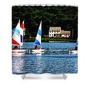 Boat - Striped Sails Shower Curtain
