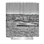 Lobster Boat Mount Sinai Harbor Li.ny Shower Curtain