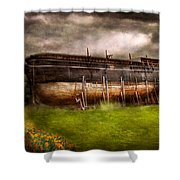 Boat - The Construction Of Noah's Ark Shower Curtain