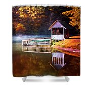 Boathouse In Autumn Oil Painting Shower Curtain
