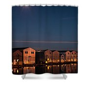 Boathouse Reflections With Moonset Shower Curtain