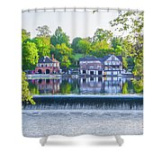 Boathouse Row - Framed In Spring Shower Curtain