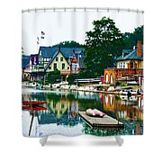 Boathouse Row In Philly Shower Curtain by Bill Cannon