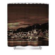 Boathouse Row Philadelphia Pa Night Retro Shower Curtain