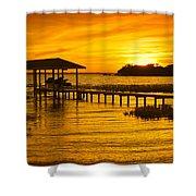Boathouse Sunset Shower Curtain