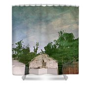 Boathouses With Sky And Trees Shower Curtain by Michelle Calkins