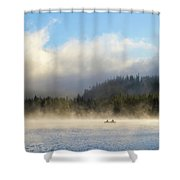 Boating At Trillium Lake One Foggy Morning Shower Curtain