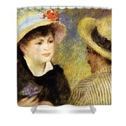 Boating Couple Aline Charigot And Renoir 1881 Shower Curtain