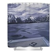 Boating Jenny Lake, Grand Tetons Shower Curtain