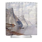 Boating On A Norwegian Fjord Shower Curtain