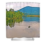 Boating On Connecticut River Between Vermont And New Hampshire Shower Curtain