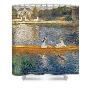 Boating on the Seine Shower Curtain by Pierre Auguste Renoir