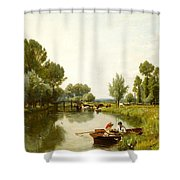 Boating On The Stour Shower Curtain