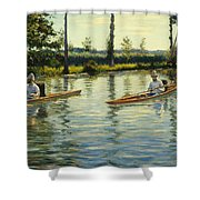 Boating On The Yerres Perissoires Sur Lyerres 1877 Shower Curtain