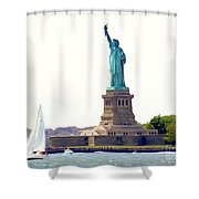 Boating With Liberty Shower Curtain