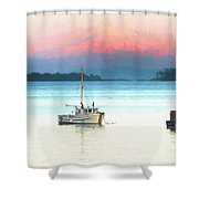Boats Anchored With Mount Baker, Washington In Background Shower Curtain
