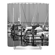 Boats And Reflections B-w Shower Curtain