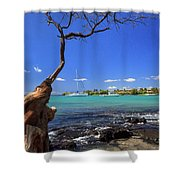 Boats At Anaehoomalu Bay Shower Curtain