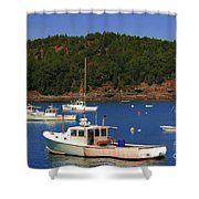 Boats At Bar Harbor Shower Curtain