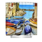 Boats At Cinque Terre Shower Curtain