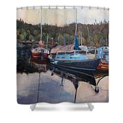 Boats At Dock Heriot Bay Inn Shower Curtain