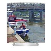 Boats At North Tonawanda Canal Shower Curtain