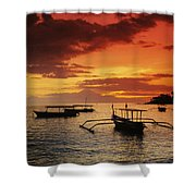 Boats At Senggigi Shower Curtain
