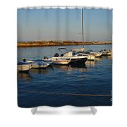 Boats At Sunset In Fuzeta Shower Curtain