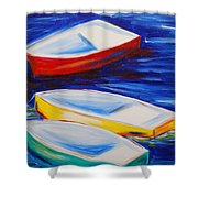 Boats At The Dock Shower Curtain