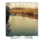 Boats At The Pier Shower Curtain