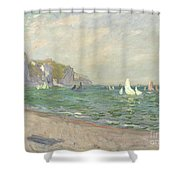 Boats Below The Cliffs At Pourville Shower Curtain by Claude Monet