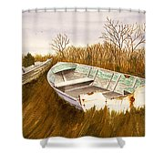 Boats By Causeway Shower Curtain