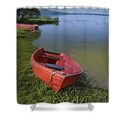 Boats By The Lake Iceland  Shower Curtain