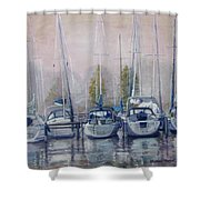Boats In A Row Shower Curtain