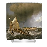 Boats In A Storm  Shower Curtain