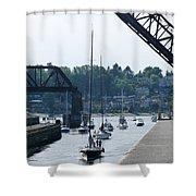 Boats In Ballard Locks Shower Curtain