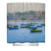 Boats In Blue Twilight - Lima, Peru Shower Curtain