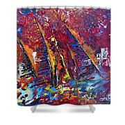Boats In Calpe 02 Spain Shower Curtain by Miki De Goodaboom