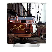 Boats In Harbor - 006 Shower Curtain