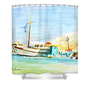 Azure Harbor Shower Curtain