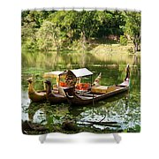 Boats In Lake Ankor Thom Shower Curtain