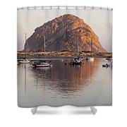 Boats In Morro Rock Reflection Shower Curtain