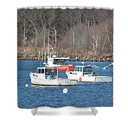 Boats In Rye Harbor Shower Curtain