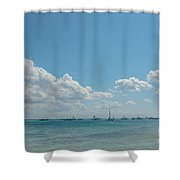 Boats In Shades Of Blue Shower Curtain