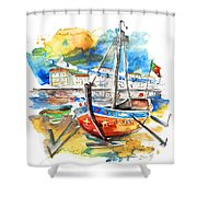 Boats In Tavira In Portugal 02 Shower Curtain