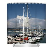 Boats In Port Tuscany Shower Curtain