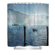 Boats In The Fog Shower Curtain by Joana Kruse