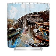 Boats In The Slough Shower Curtain