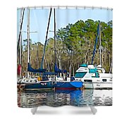 Boats In The Water Shower Curtain